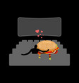 lover fast food man and hamburger in movie vector image