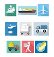 nine delivery icons vector image