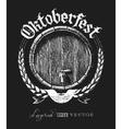 Oktoberfest lettering with wooden barrel vector image