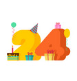 24 year happy birthday greeting card 24th vector image vector image