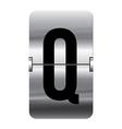 Alphabet silver flipboard letters q vector image vector image