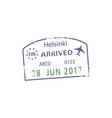 arrived to helsinki visa grunge stamp isolated vector image vector image