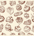 background with cakes sketches vector image
