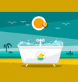 bathtub on beach with ocean on background vector image vector image