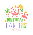 birthday party happy kids fun and games promo sign vector image vector image