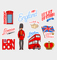british vintage stickers crown and queen teapot vector image vector image
