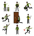 burglars committing crimes set sneaking thiefs vector image vector image