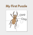 cartoon beetle puzzle template for children vector image