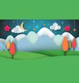cartoon paper landscape tree flower cloud vector image vector image