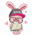 cartoon pink rabbit in a cap with book vector image