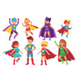 cartoon superhero kids characters joyful kid vector image vector image
