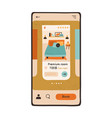 cell phone screen with app interface for hotel vector image