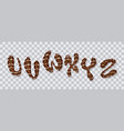 chocolate hand drawn typeset sweet alphabet vector image vector image