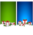 Christmas stripe banners with gift boxes vector image vector image