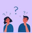 couple man and woman having a question marks vector image vector image