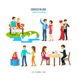 couples spend their time in different settings vector image vector image