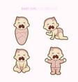 cute bagirl set vector image vector image