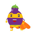 cute cartoon smiling eggplant superhero in mask vector image vector image