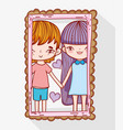 cute romantic couple with hearts in the mirror vector image