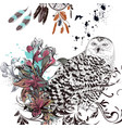 fashion background with owl flowers and feathers vector image vector image