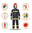 firefighter or fireman with helmet and hydrant vector image