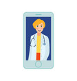 flat adult female doctor in smartphone vector image