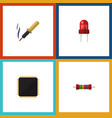 flat icon device set of resistance cpu repair vector image vector image