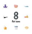 flat icon marine set of medusa shark fish and vector image
