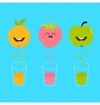 Fresh juice and glasses Apple strawberry orange vector image