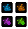 glowing neon remove shopping basket icon isolated vector image vector image