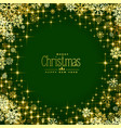 green background with golden snowflakes and vector image
