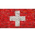 Grunge flag of Switzerland on a brick wall vector image vector image