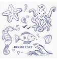 hand drawn ocean wild animals on notebook page vector image vector image