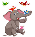 happy elephant with bird vector image vector image