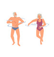 happy grandparents swimming in pool water isolated vector image