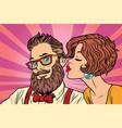 heterosexual couple beautiful woman kisses a vector image vector image