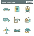 Icons line set premium quality of going vacation vector image vector image