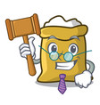 judge flour mascot cartoon style vector image vector image
