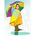 Little girl under umbrella vector image vector image