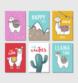 llama hand drawn poster or card set vector image vector image