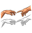 male finger pointing touch god hand the creation vector image vector image