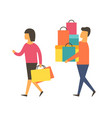 man and woman on sale shopping people vector image vector image