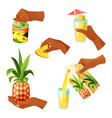 pineapple fruit and juice hand icons set vector image