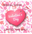 pink label heart for valentine s day offer vector image