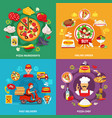 pizzeria flat design concept vector image vector image