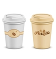 plastic coffee cups with lid vector image vector image