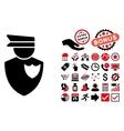 Policeman Flat Icon with Bonus vector image vector image