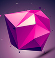 Purple asymmetric 3D abstract object with lines vector image