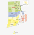 rhode island county and city map with flag vector image vector image