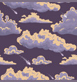 seamless texture with clouds and meteorites vector image vector image